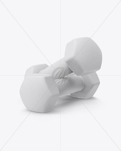 Textured Dumbbells Mockup - Half Side View