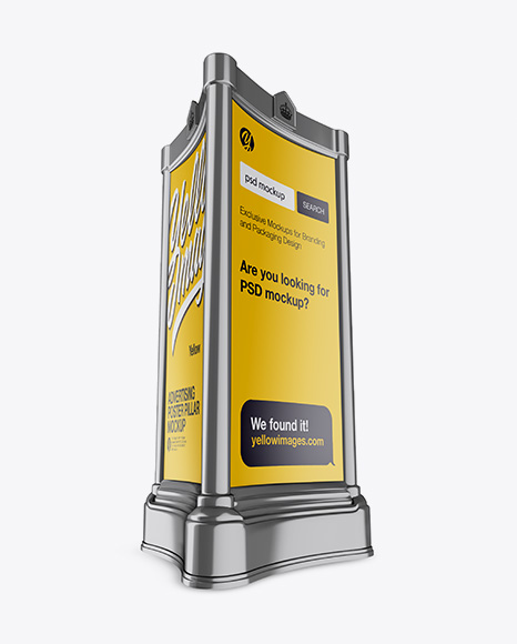 Download Advertising Poster Pillar With Matte Poster Psd Mockup Half Side View Hero Shot Mockup Psd Responsive PSD Mockup Templates