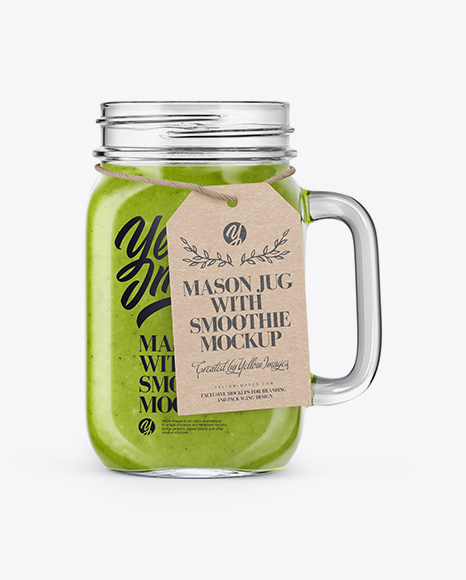 Download Opened Mason Jug with Green Smoothie Mockup Object Mockups