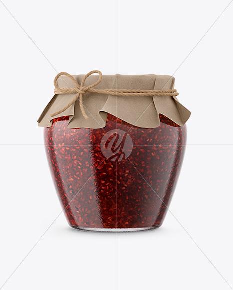 Glass Raspberry Jam Jar with Paper Cap Mockup