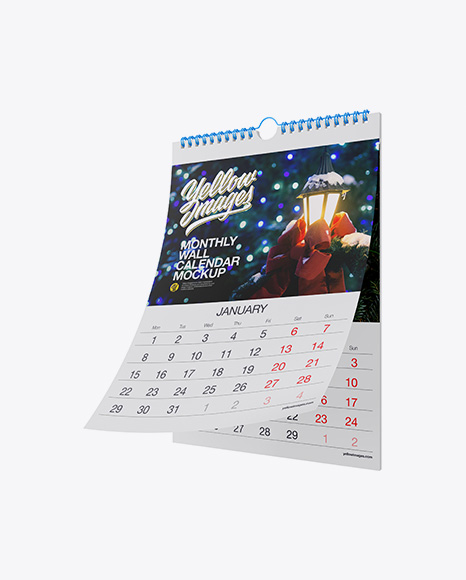 Download Monthly Wall Calendar Mockup - Half Side View Object Mockups