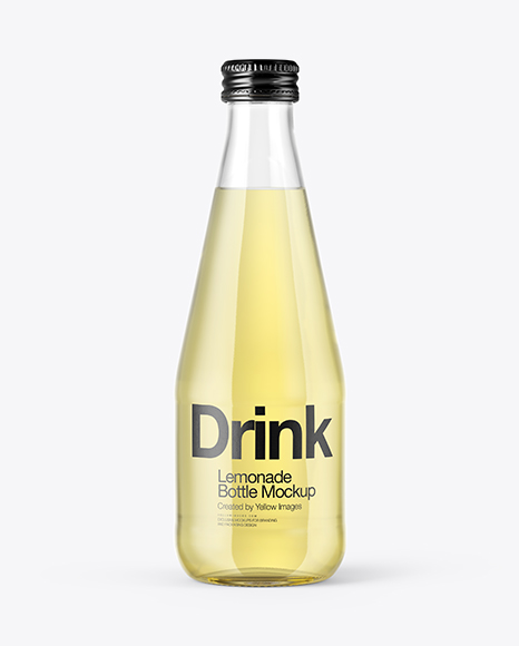 Download Clear Glass Bottle With Lemonade Mockup Object Mockups