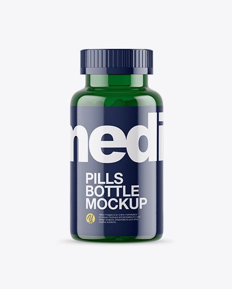 Download Free Green Pills Bottle Mockup PSD Template