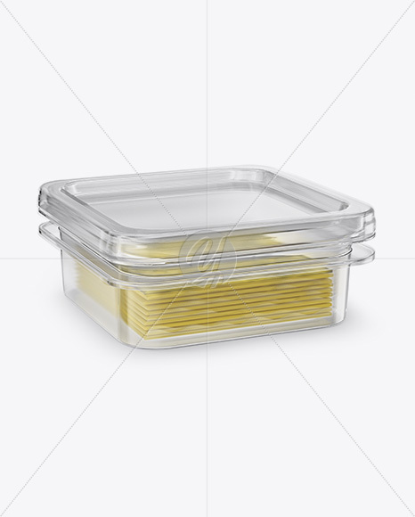 Transparent Container with Wrapped Sliced Cheese Packs Mockup - Half Side View (High Angle Shot)