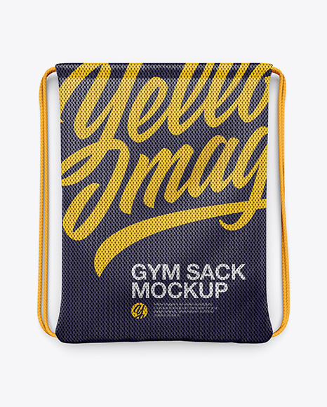 Training Gym Sack Front View In Apparel Mockups On Yellow Images