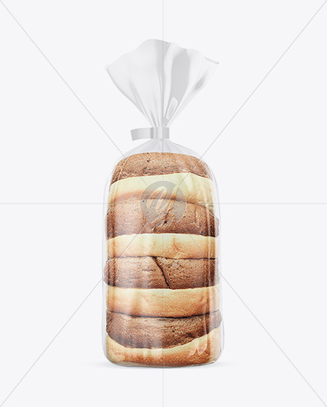 Glossy Transparent Bread Package With Clip Mockup