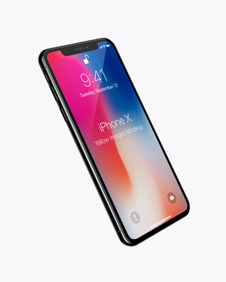 Download Apple iPhone X Jet black Mockup - Half Side View Object Mockups