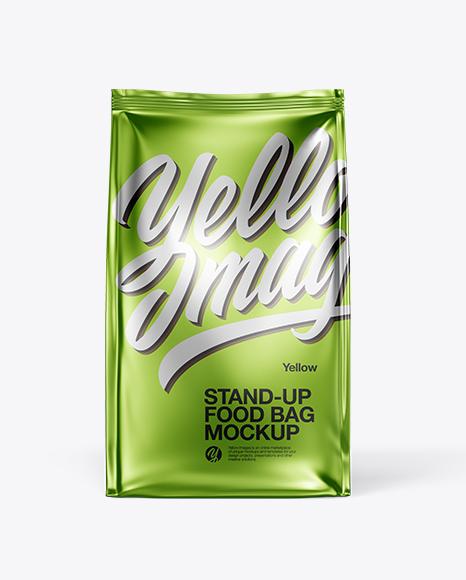 Download Matte Metallic Food Bag Mockup - Front View Object Mockups