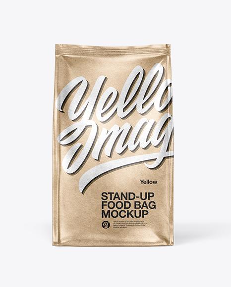 Download Kraft Paper Food Bag Mockup - Front View Object Mockups