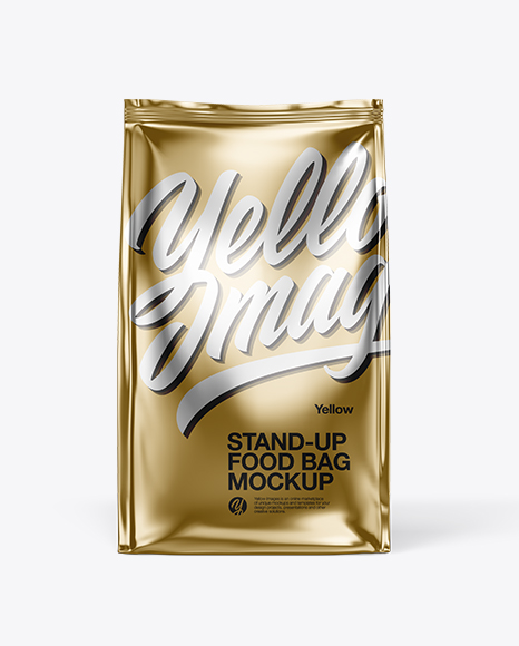 Download Free Metallic Food Bag Mockup - Front View PSD Template