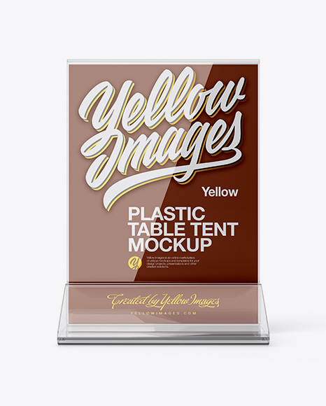 plastic table tent mockup front view in indoor advertising mockups