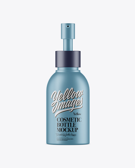 Download Matte Metallic Cosmetic Bottle With Pump Mockup - Front View Object Mockups