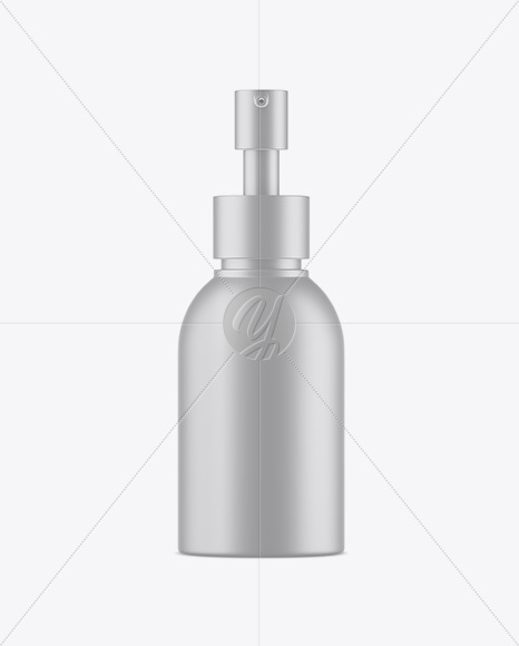 Matte Metallic Cosmetic Bottle With Pump Mockup - Front View
