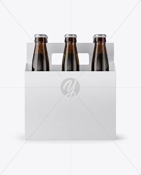 Download 6 Pack Amber Bottle Carrier Mockup Front Side Views In Bottle Mockups On Yellow Images Object Mockups PSD Mockup Templates