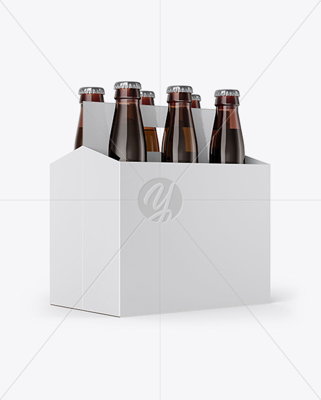 Download 6 Pack Amber Bottle Carrier Mockup Half Side View In Bottle Mockups On Yellow Images Object Mockups PSD Mockup Templates