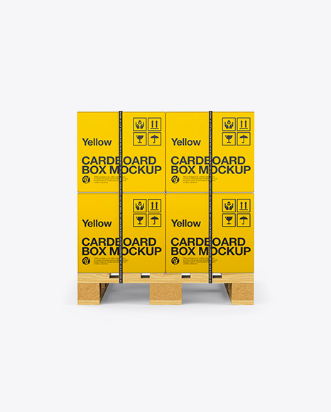 Wooden Pallet With 8 Strapped Carton Boxes Mockup - Front View