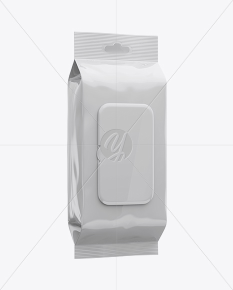 Wet Wipes Pack W/ Plastic Cap Mockup - Half Side View