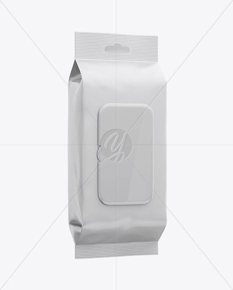 Matte Wet Wipes Pack W/ Plastic Cap Mockup - Half Side View