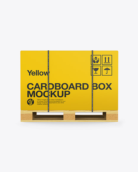 Download Wooden Pallet With Strapped Carton Box Mockup - Side View Object Mockups