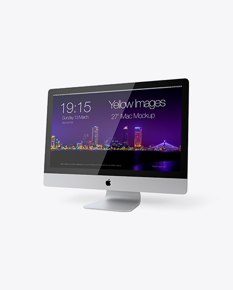 27' iMac Mockup - Half Side View