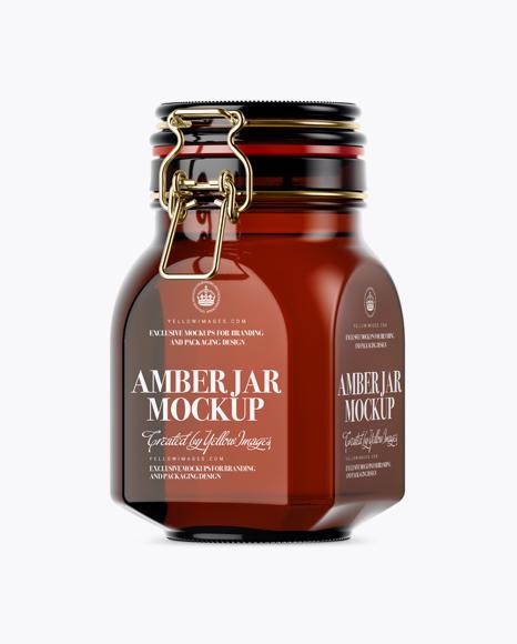 Download 900ml Amber Glass Jar w/ Clamp Lid Mockup - Half Side View Object Mockups