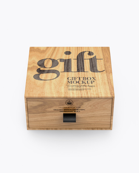 Download Free Wooden Gift Box Mockup (High-Angle Shot) PSD Template