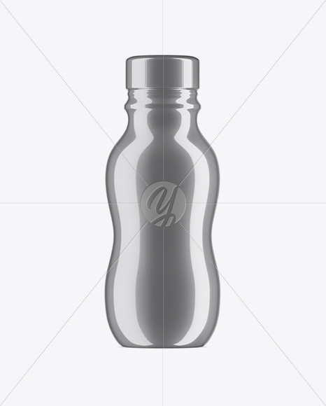 Plastic Bottle In Metallic Shrink Sleeve Mockup