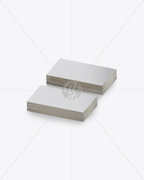 Two Stacks of Business Cards Mockup - Half Side View