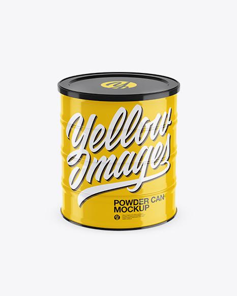 Glossy Powder Can Mockup (High-Angle Shot)
