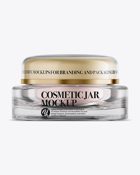 Download Clear Glass Square Cosmetic Jar Mockup - Front View Object Mockups