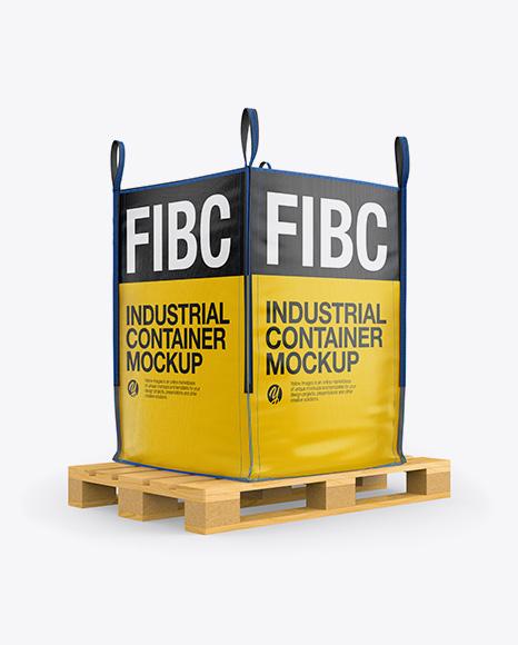 Download Wooden Pallet With FIBC Big Bag Mockup - Half Side View Object Mockups