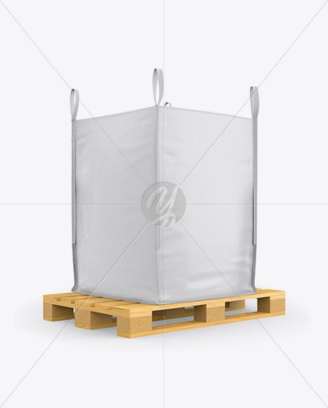 Wooden Pallet With FIBC Big Bag Mockup - Half Side View