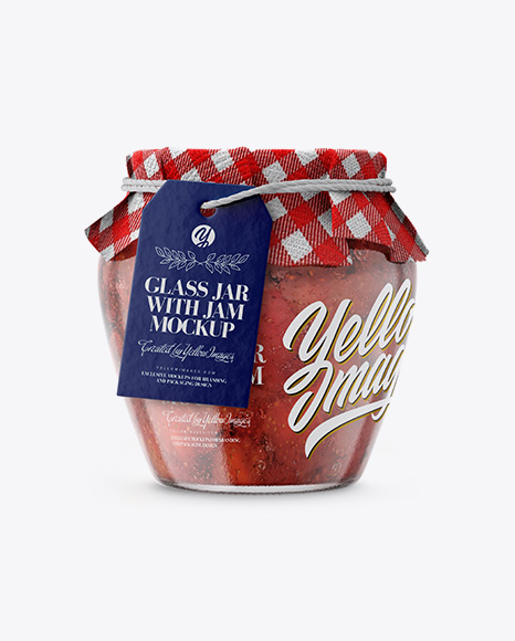 Download Glass Strawberry Jam Jar with Fabric Cap and Label Object Mockups