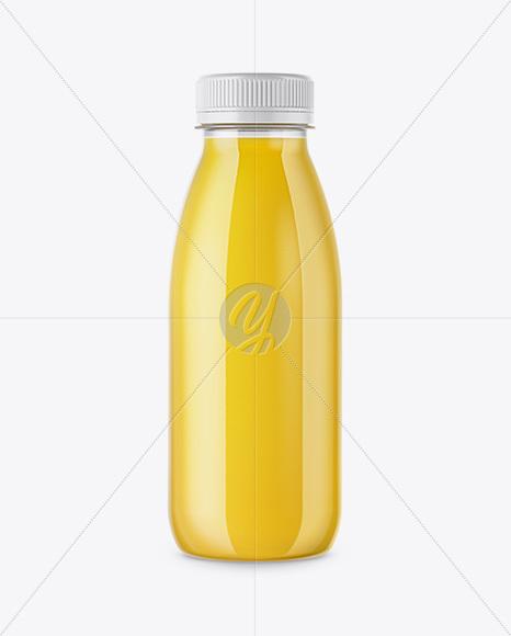 Clear Bottle with Orange Juice Mockup