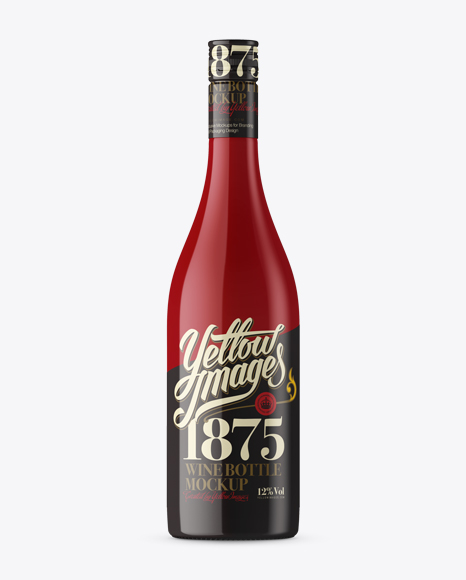 Burgundy Style Bottle Mockup - Front View