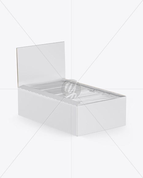 12 Snacks Opened Box Mockup - Half Side View