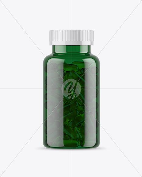 Green Fish Oil Bottle Mockup