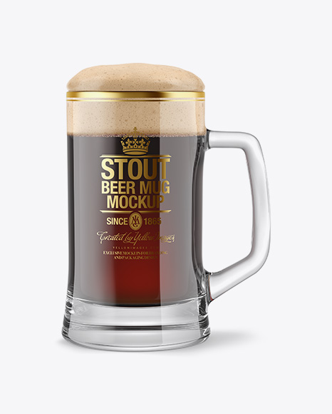 Tankard Glass Mug with Stout Beer Mockup