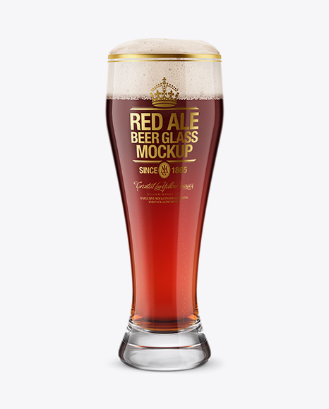 Weizen Glass with Red Ale Beer PSD Mockup 28.42MB