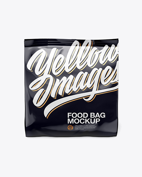 Download Glossy Food Bag Mockup - Front View (High-Angle Shot) Object Mockups