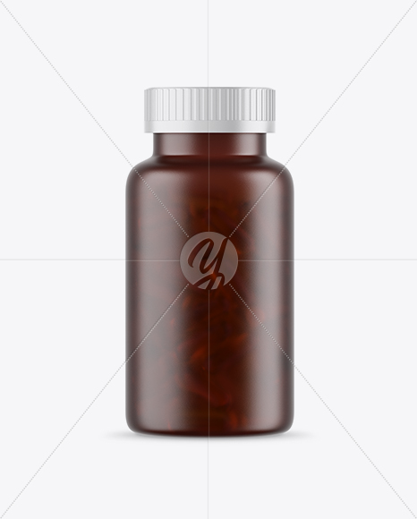 Frosted Amber Fish Oil Bottle Mockup