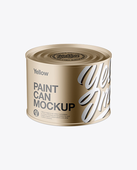 Download Free Metallic Paint Can Mockup - High Angle PSD Template
