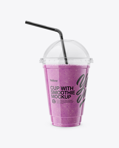 Download Berries Smoothie Cup with Straw Mockup Object Mockups
