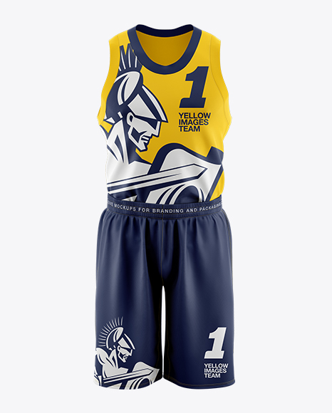 Basketball Kit Mockup Front View In Apparel Mockups On Yellow