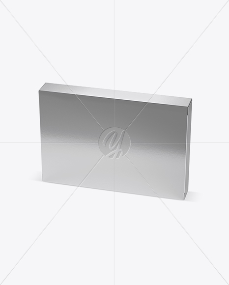 Metallic Paper Box Mockup - Half Side View (High-Angle Shot)