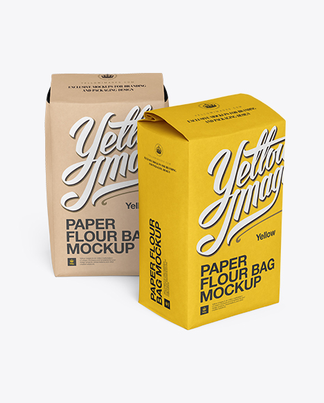 Two Paper Flour Bags Mockup In Bag & Sack Mockups On