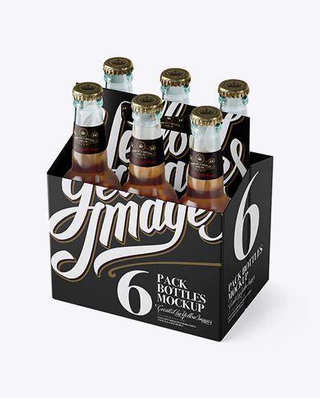Download White Paper 6 Pack Beer Bottle Carrier Mockup 3 4 View High Angle Shot In Bottle Mockups On Yellow Images Object Mockups PSD Mockup Templates