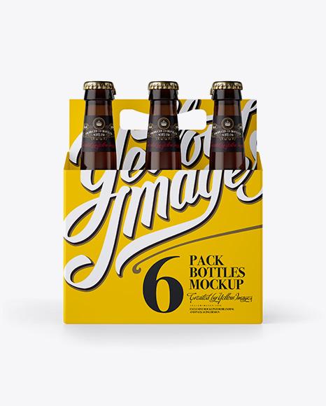 White Paper 6 Pack Amber Bottle Carrier Mockup