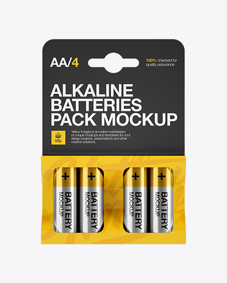 4 Pack Metal Battery AA Mockup - Front View