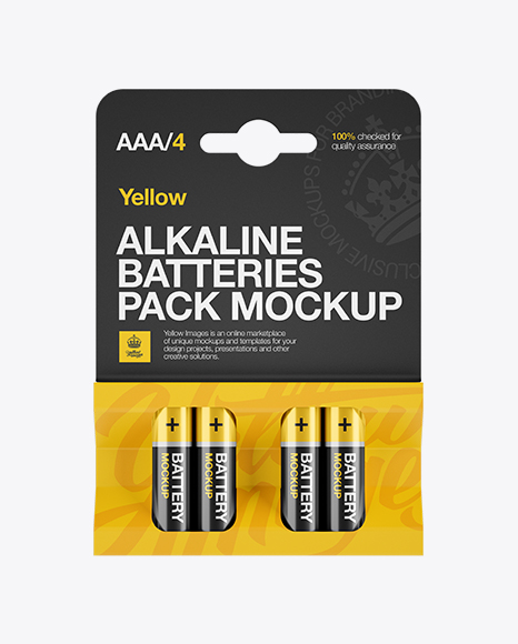 4 Pack Battery AAA Mockup - Front View